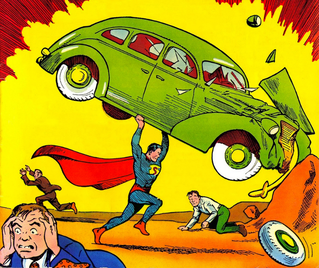 Superman, couverture d'Action Comics, 1938.