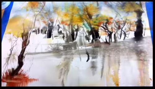 Dessin et peinture - vidéo 1898 : Le feuillage de l'automne - paysage à l'aquarelle.