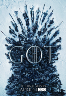 Several main characters in the shape of the Iron Throne in the snow