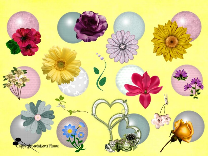 Mosaique de fleurs