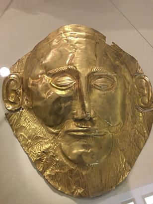 Mycènes - Trésor d'Astrée -copie du masque en or d'Agamemnon