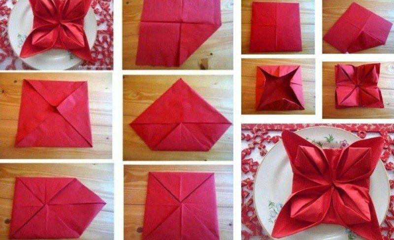 pliage-serviette-Noel-fleur-rouge-serviette-papier