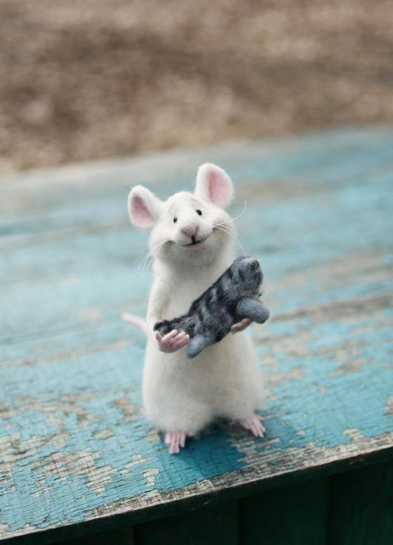 Souris souris et chat poupée de collection souris douce laine