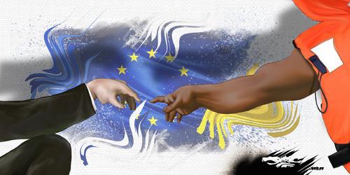 dessin de JERC et AKAKU du lundi 02 juillet 2018 caricature Europe de l'égoïsme Les migrants : Gilet sauve www.facebook.com/jercdessin @dessingraffjerc