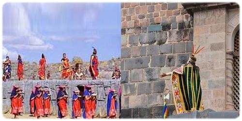 offrande présentée aux dieux lors de la célébration du festival de l'Inti Raimi au Pérou. La tâche d'organisation des offrandes et des sacrfices revient souvent aux prêtres