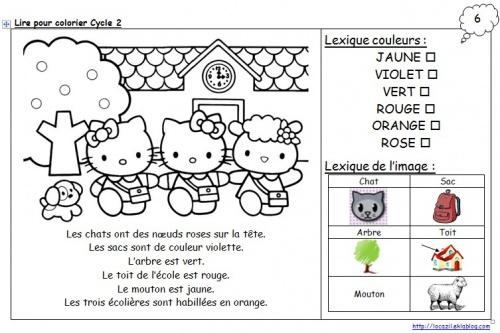 Lire pour colorier Cycle 2