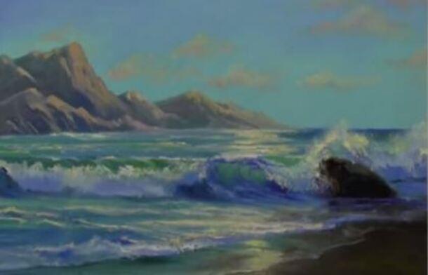 Favori Dessin et peinture - vidéo 1609 : La vague et les rochers - une  LT88