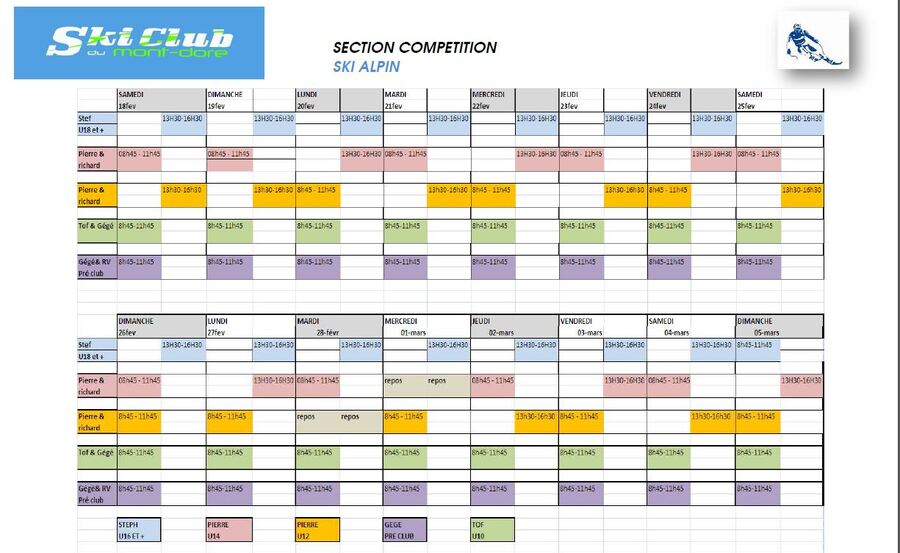 Horaires des entrainements durant les vacances sciolaires de février 2017