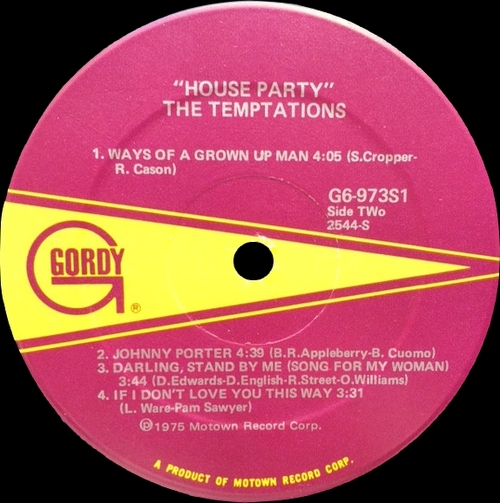 """The Temptations : Album """" House Party """" Gordy Records G6-973S1 [ US]"""