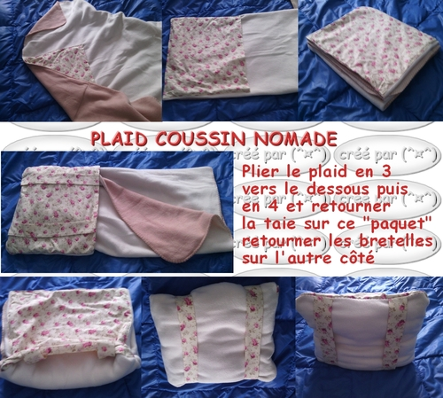 Plaid nomade à dos transformable en coussin !