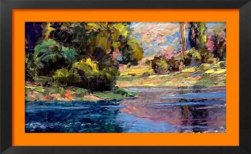 Dessin et peinture - vidéo 2176 : Un exemple de reflets dans un paysage 3 - peinture acrylique sur toile.