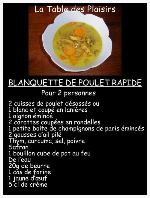 BLANQUETTE DE POULET RAPIDE