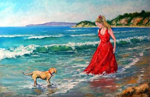 Dessin et peinture - vidéo 2016 : Jeux de plage sur la côte-d'azur - peinture à l'huile.