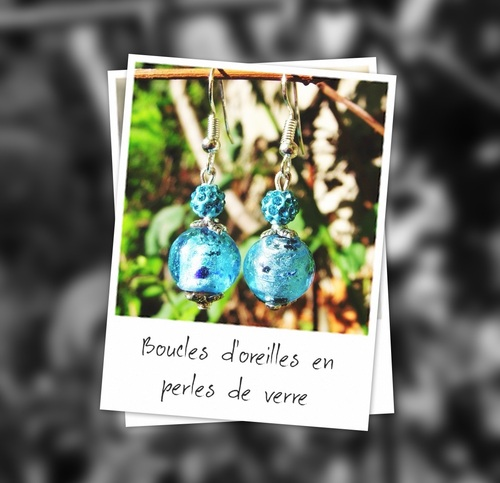 Boucles d'oreilles fantaisie en perles de verre turquoise