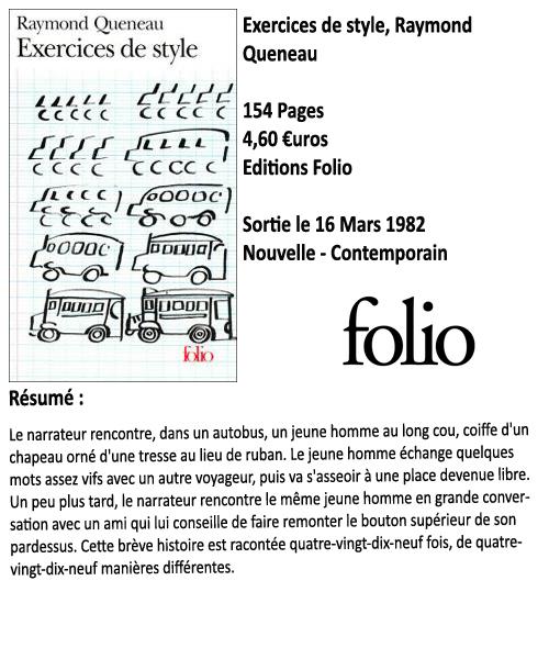 Exercices de style, Raymond Queneau