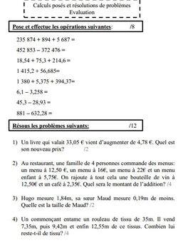Eval additions soustractions nombres entiers nombres décimaux