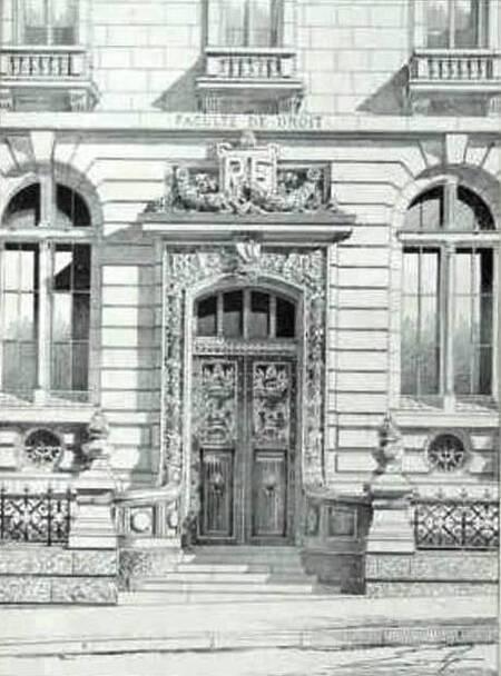 Le portique de la Faculté de Droit, rue Saint-Jacques (planche architecture, Lheureux, 1898)