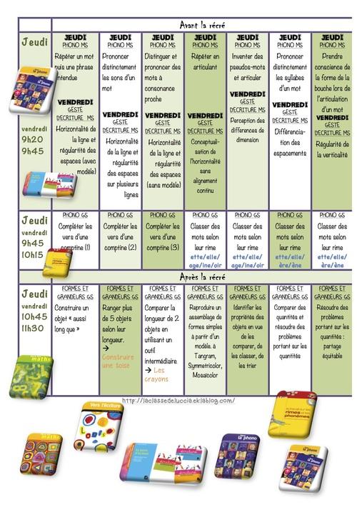 Planning des activités dirigées P2 MS/GS