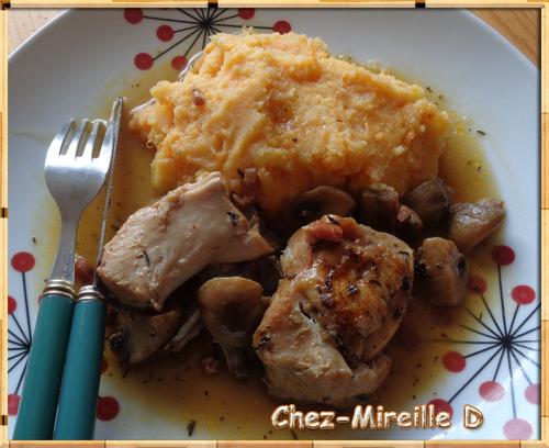 Coq en Sauce aux Lardons et Champignons
