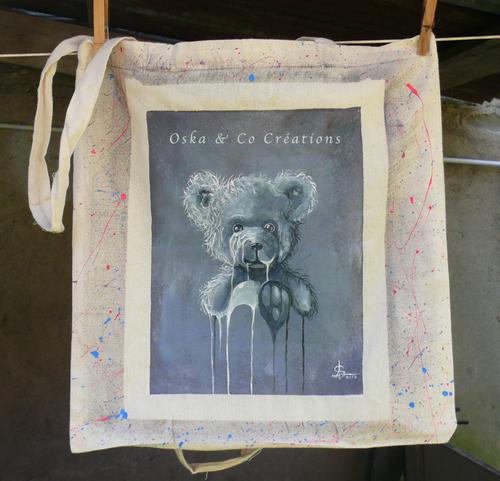 Sac en toile de coton personnalisé ourson à l'acrylique