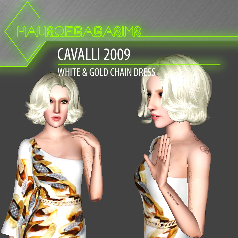 CAVALLI 2009 WHITE & GOLD CHAIN DRESS