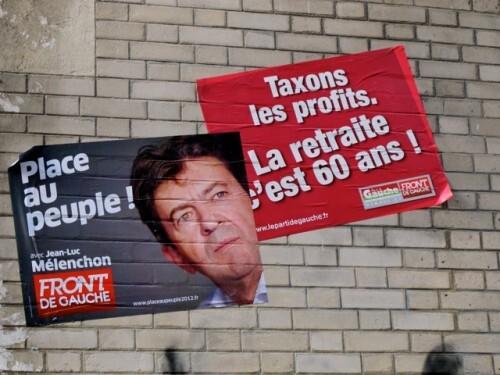Affiche politique front gauche retraite