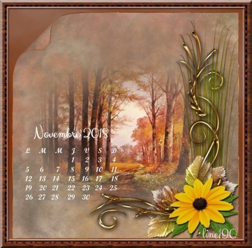 Calendrier du mois de novembre