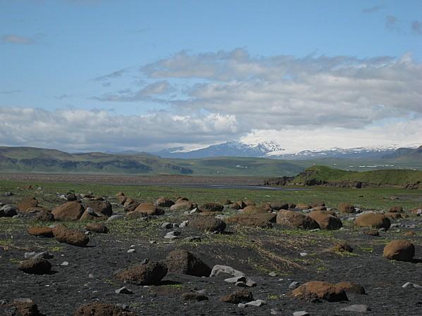 vue sur les glaciers Eyjafjallajokull et Myrdalsjokull