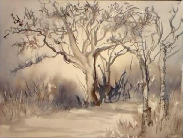 Dessin et peinture vid o 1585 un paysage enneig peint avec deux couleurs de base peinture - Paysage enneige dessin ...