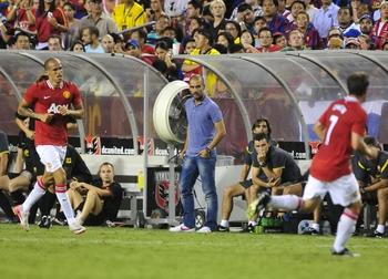 Pep Guardiola(en bleu)
