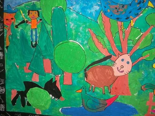Fresque de Pierre et le loup