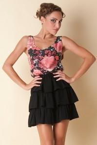 lola dress multi roses half