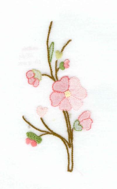Fleur de pêcher au point d'ombre sur organdi