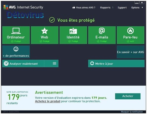 Avg Internet Security 2013 - Licence 6 mois gratuits