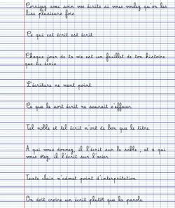 Carte d'entrainement de calligraphie