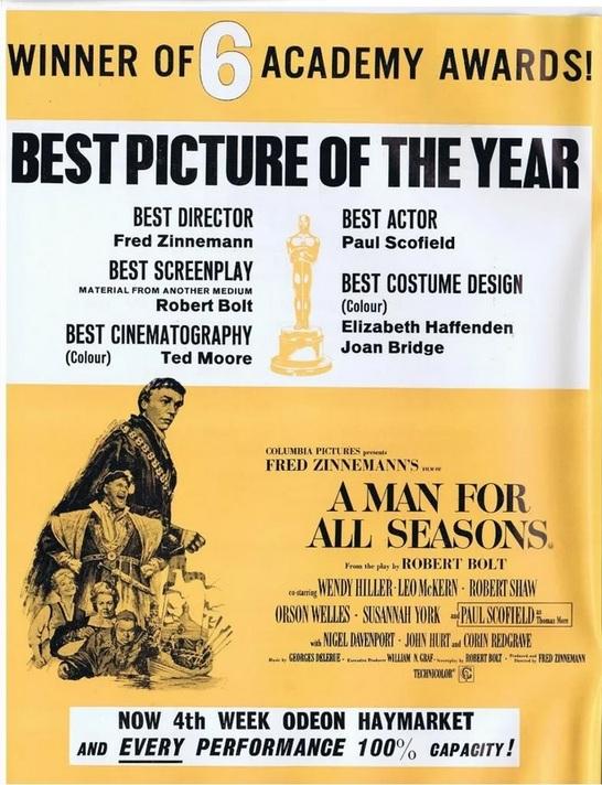 A MAN FOR ALL SEASONS box office 1967 OSCARS