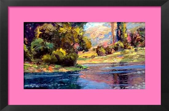Dessin et peinture - vidéo 2175 : Un exemple de reflets dans un paysage 2 - peinture acrylique sur toile.