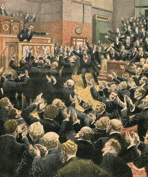 Une séance orageuse à la Chambre des députés en 1910