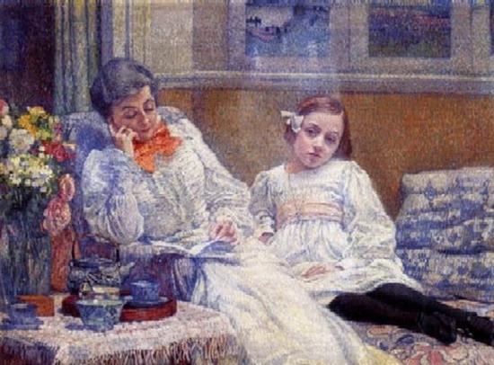 Théo Van Rysselberghe, Madame Van Rysselberghe et sa fille Elisabeth
