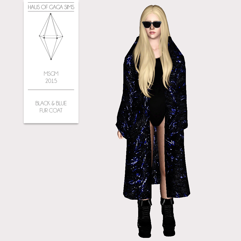 MSGM 2015 BLACK & BLUE FUR COAT