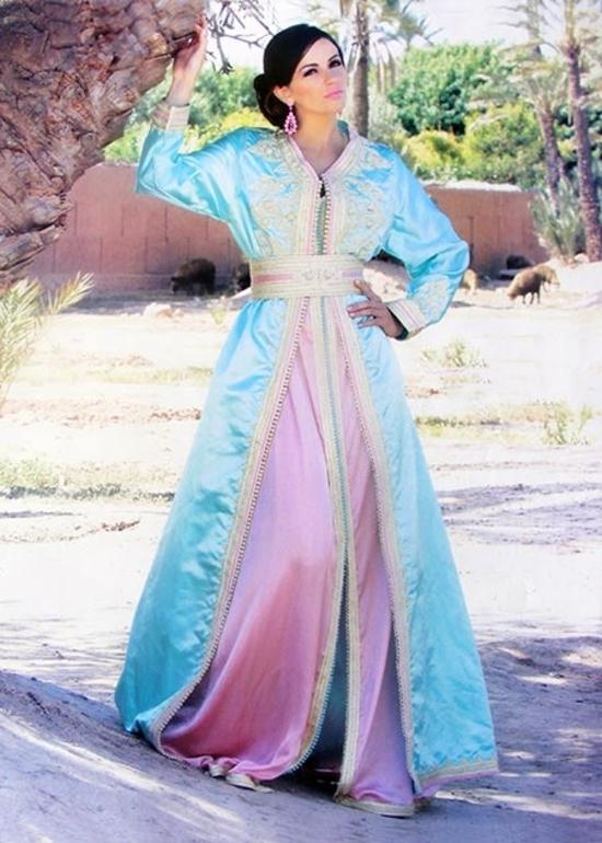 Takchita marocaine de 2015 broderie et perle de haute couture pour mariage marocain  TAK-S853