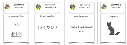 Rituel de maths: défi maths express