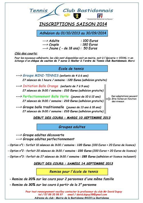 Tarifs TCB saison 2013-2014