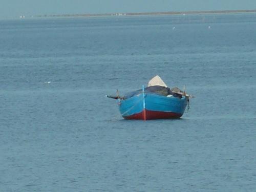 Barque de pêcheur au loin sur la mer
