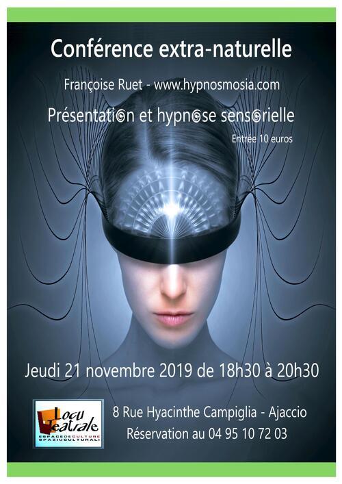 Jeudi 21 Novembre - Conference Hypnose sensorielle - 18h30 à 20h30