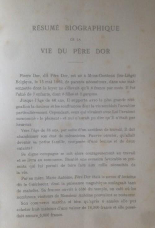 Résumé biographique de la vie du Père Dor