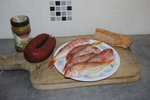 Tartines Terre/Mer de Rouget au Chorizo