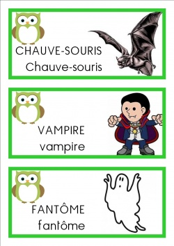 vocabulaire mots ms Halloween