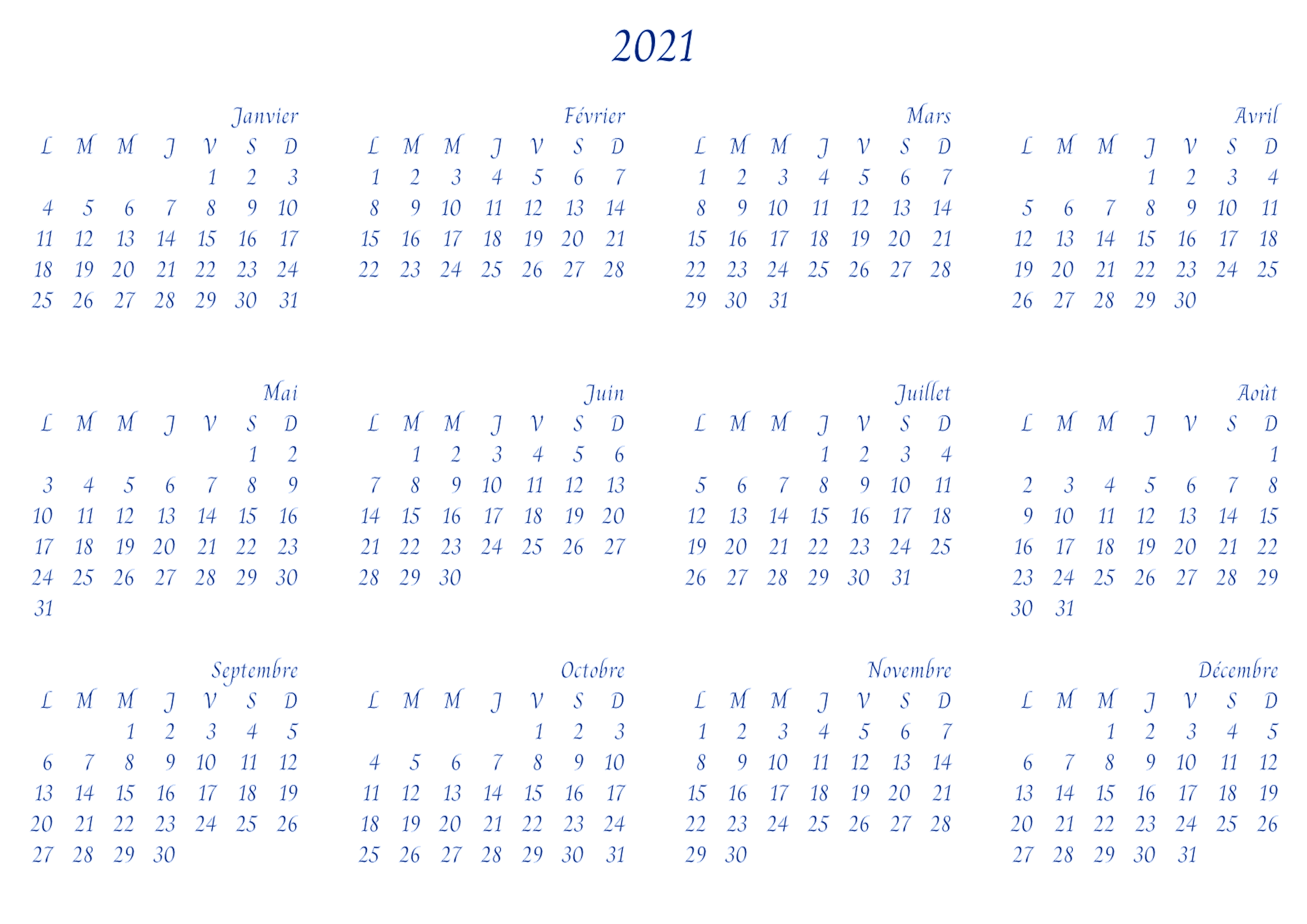 Script calendrier