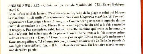 PIERRE RIVE extrait livre Sel
